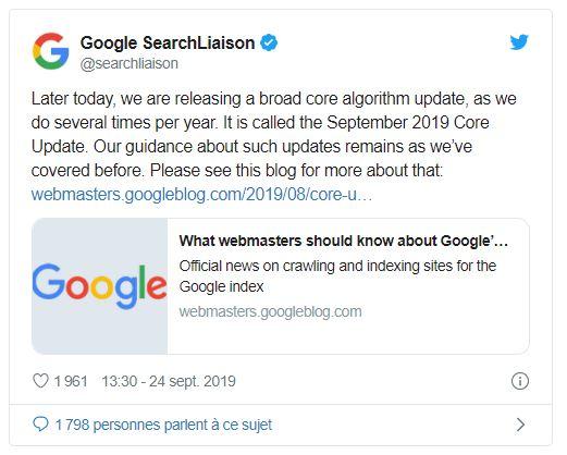 Google mise a jour algorithme September 2019 Core Update