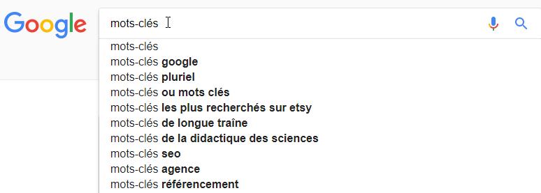 Google Suggest l'outil gratuit de Google pour les mots clés