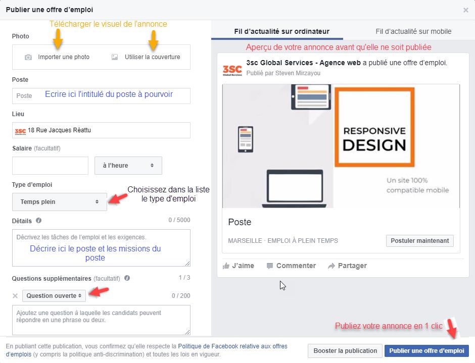 Publier une offre d'emploi sur Facebook (tuto)