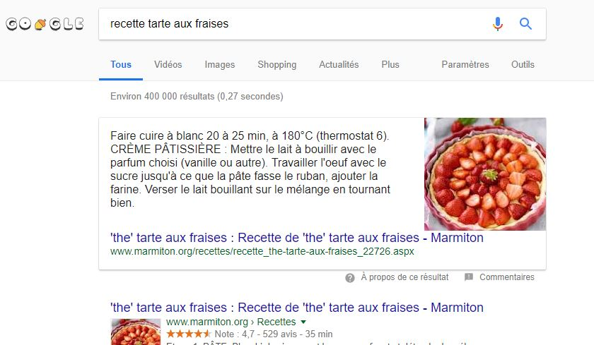 Featured Snippet type paragraphe